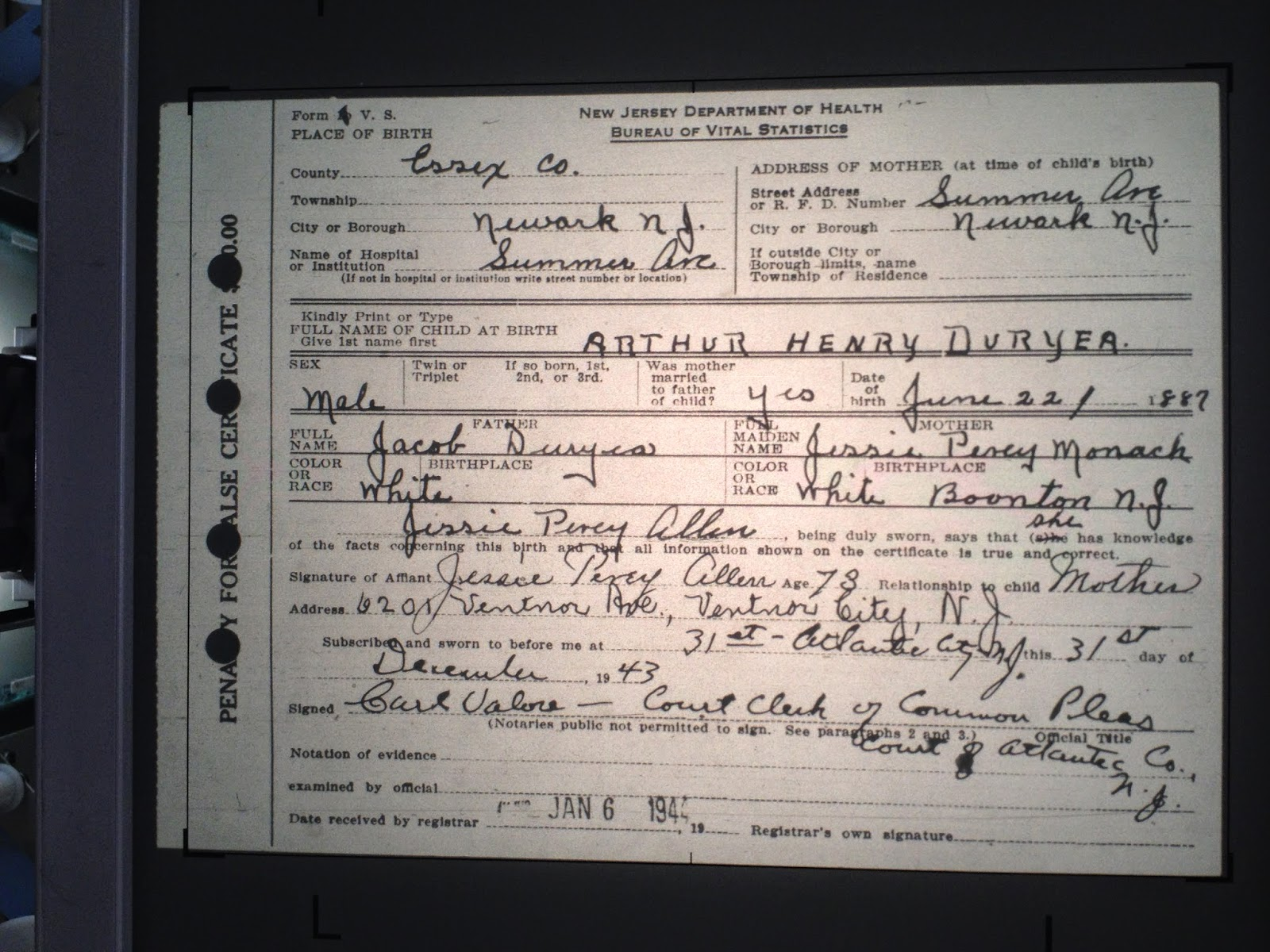 Family history research by jody duryea new jersey births arthur henry duryea born june 22 1887 in newark essex county new jersey aiddatafo Image collections