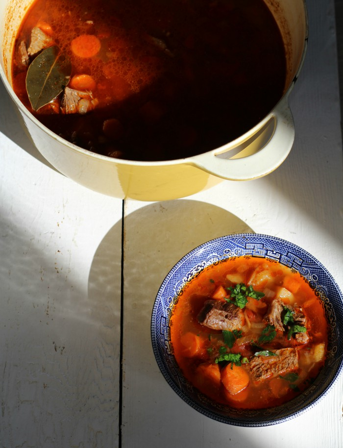 A wonderful Hungarian Goulash Soup (Gulyásleves) that is true comfort food. It is a simple soup that is a delicious beef soup with a rich paprika seasoned broth. It is the most perfect soup to enjoy on a cold winter's day. #soup #stew #comfortfood #goulash #hungarianrecipe