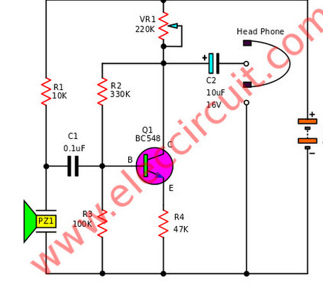 Circuit Schematic of Simple Electronic Stethoscope using Transistor