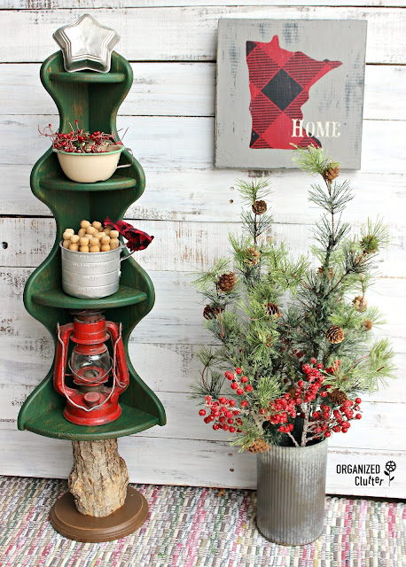 Dated Wooden Corner Shelf Repurposed As Christmas Tree #Christmasjunkfavs #repurpose #repurposed #alternativeChristmastree #rusticChristmas