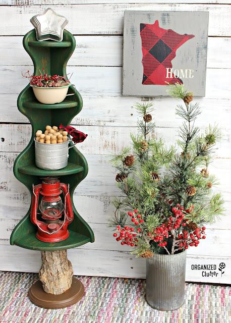 Dated Wooden Corner Shelf Repurposed As Christmas Tree #Christmasjunkfavs #repurpose #repurposed #alternativeChristmastree #rusticChristmas