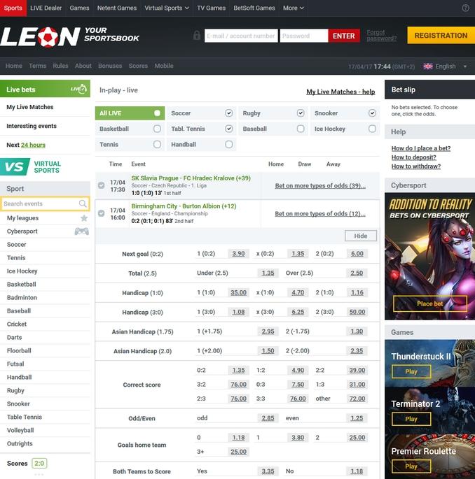 Leonbets Live Betting Screen