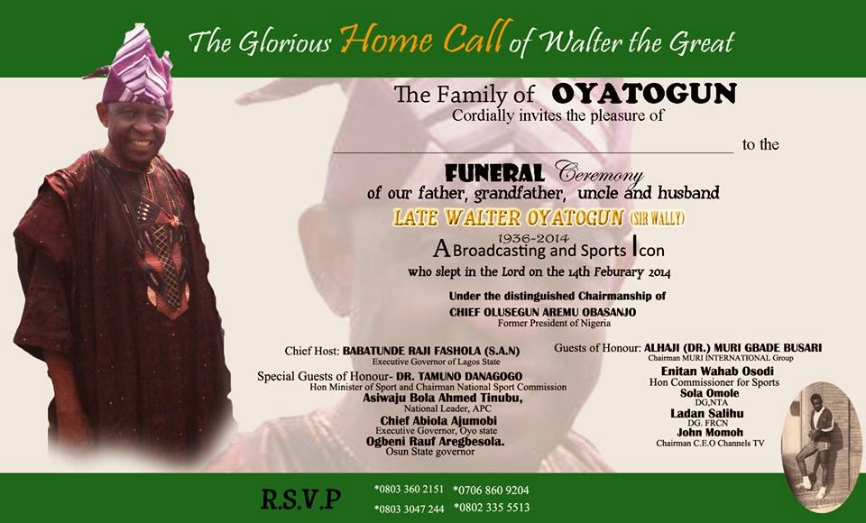 Africa Entertainment News PA WALTER OYATOGUN GOES HOME- FUNERAL - funeral invitation cards