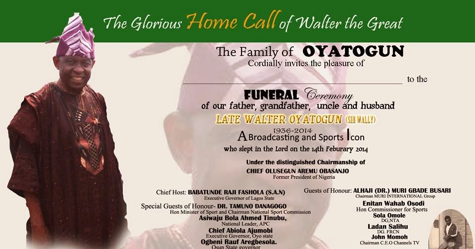 Africa Entertainment News PA WALTER OYATOGUN GOES HOME- FUNERAL - funeral ceremony invitation