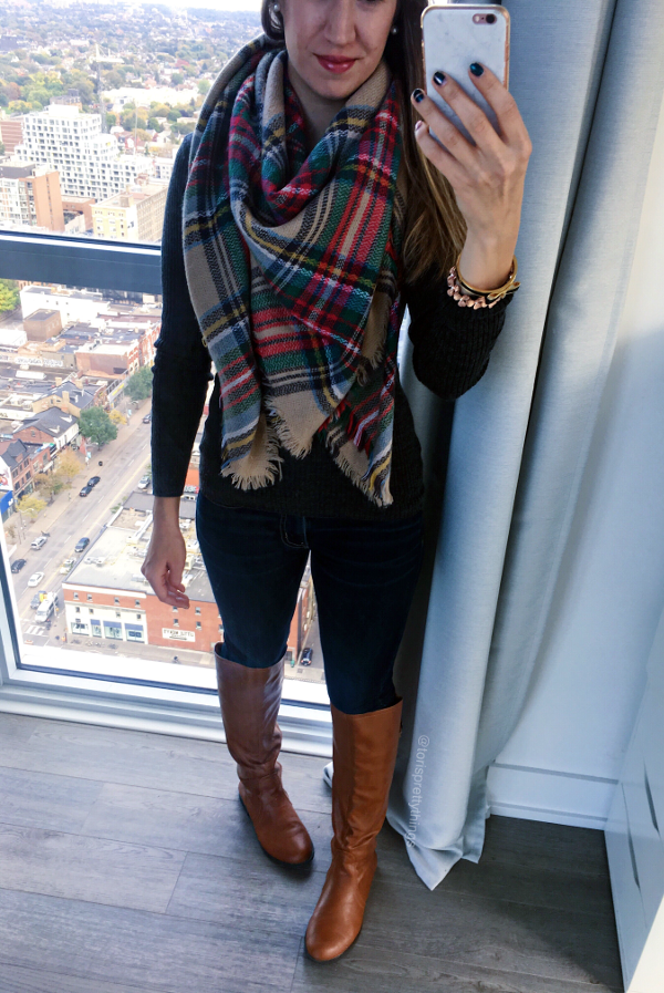 Fall Scarf, Dark Gray Sweater, Riding Boots Fall Outfit - Tori's Pretty Things Blog