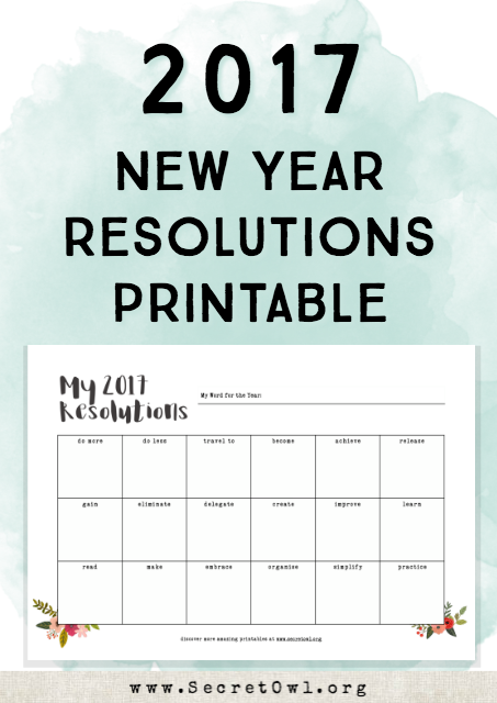secret owl society printable new years resolution template new year resolution sheets printable