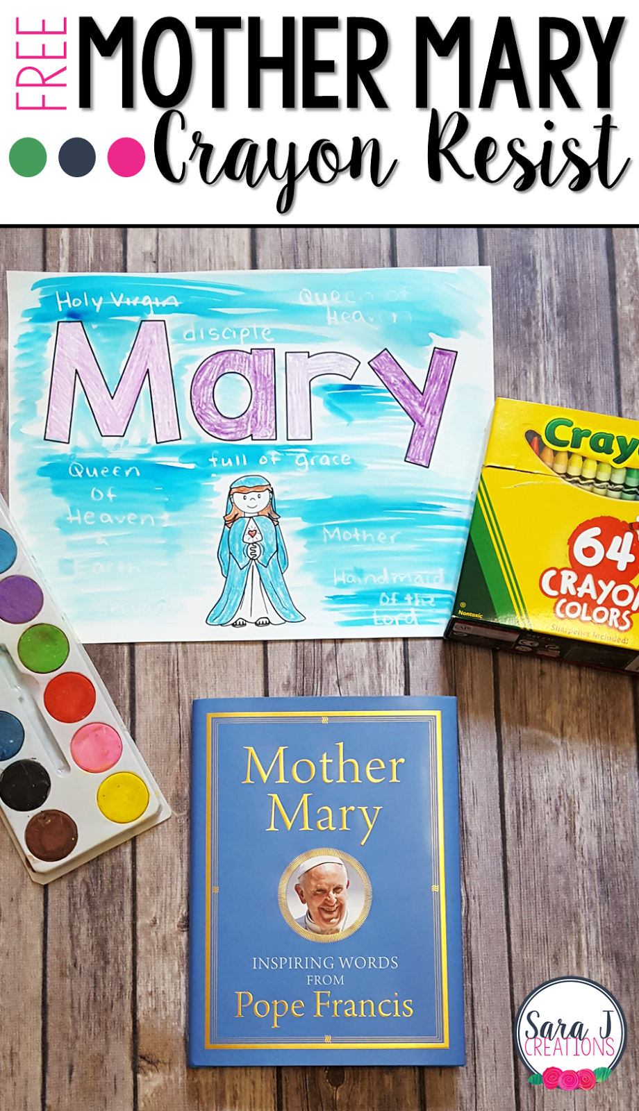 A book review and FREE craft idea for the book Mother Mary: Inspiring Words from Pope Francis.