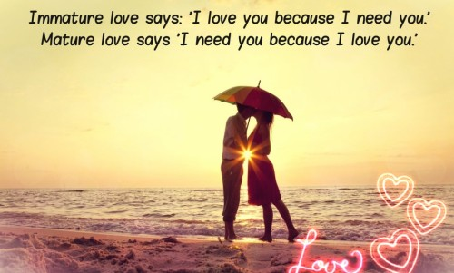 Best whatsapp status 2016 Immature love says l love you because i need you