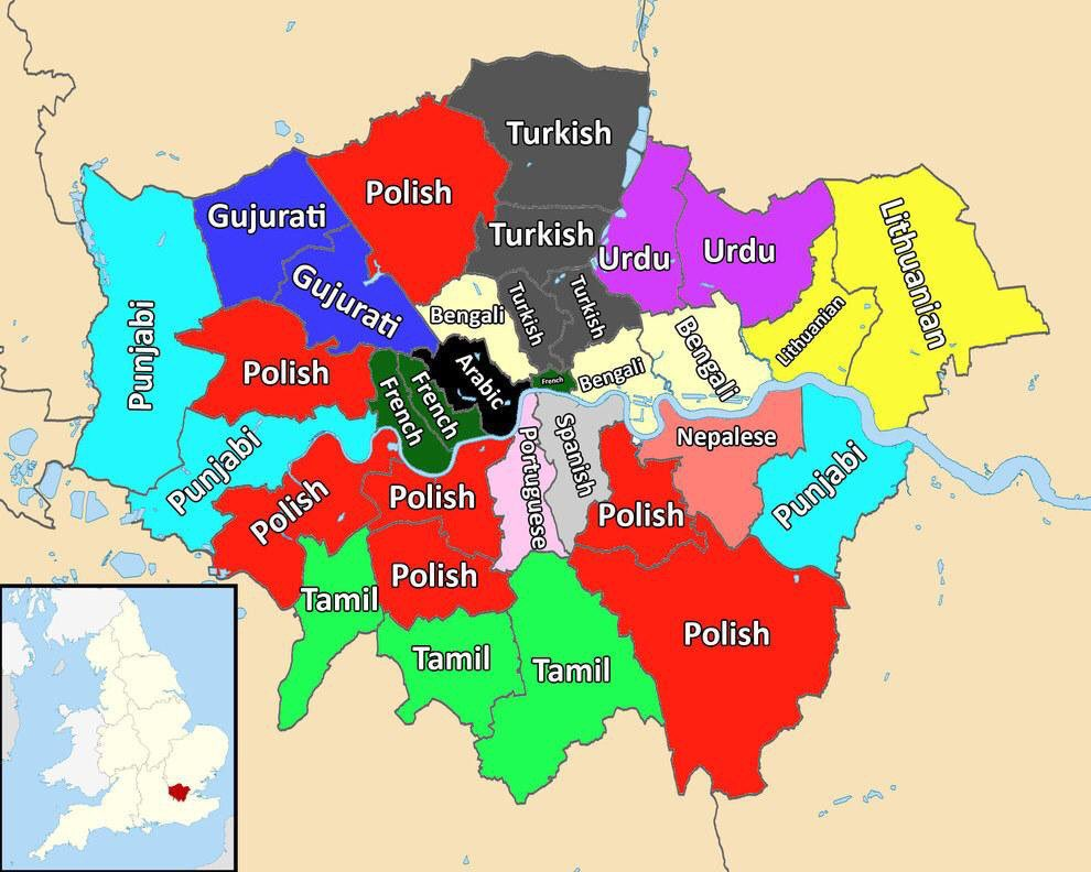 The most commonly spoken second language in each London borough