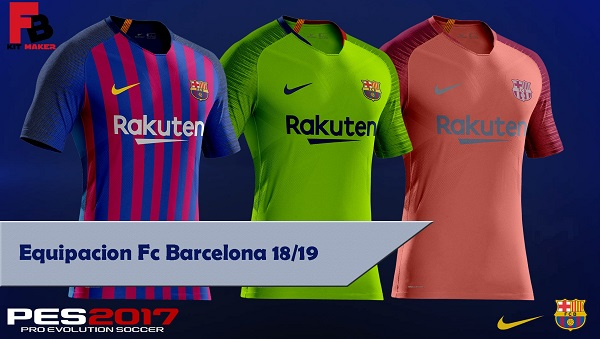 huge discount 05307 111e2 PES 2017 Barcelona Kits 2018/19 by FB KitMaker - Micano4u ...