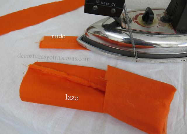 como coser un lazo para adorno cintura vestido