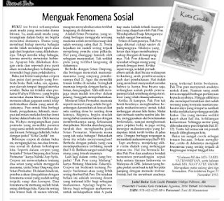Menguak Fenomena Sosial merupakan resensi atas buku Kota Gudik karya Wahyu Wibowo, dkk terbitan Pustaka Kata yang di muat oleh Kabar Madura