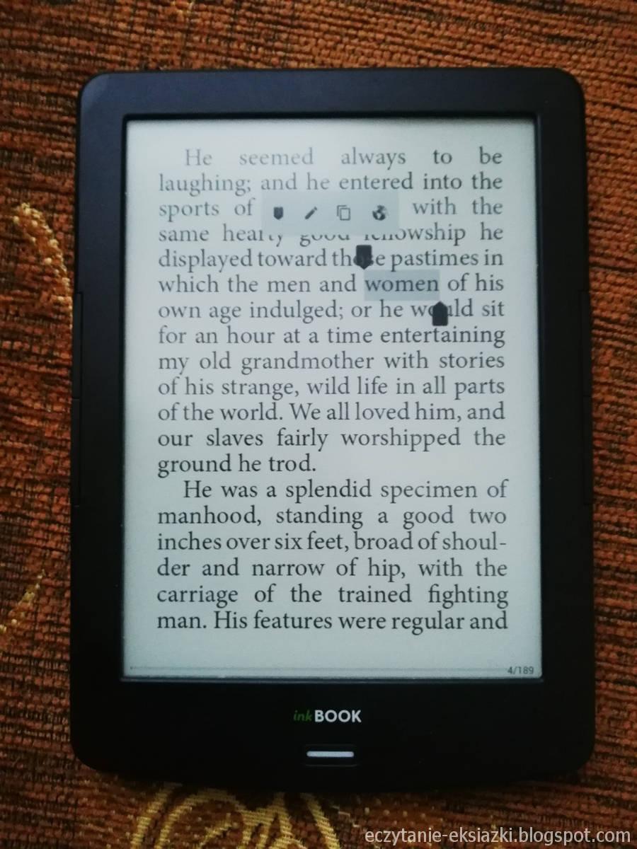 InkBOOOK LUMOS - zaznaczanie słowa do tłumaczenia