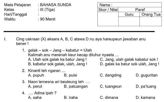 Soal Uts Bahasa Sunda Kls 3 Sd Mi Semester 1 Dan 2 Contoh Soal Un Sd Smp Sma