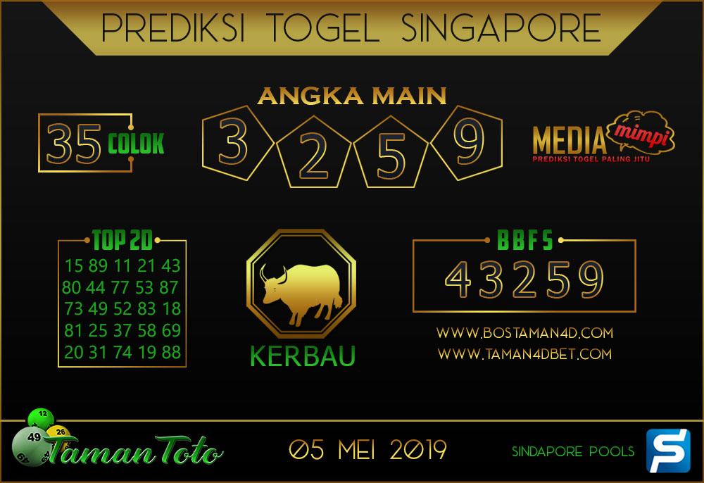 Prediksi Togel SINGAPORE TAMAN TOTO 05 MEI 2019