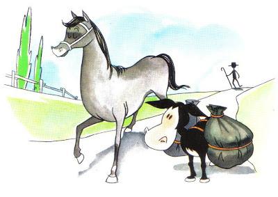 fabula el caballo y el asno