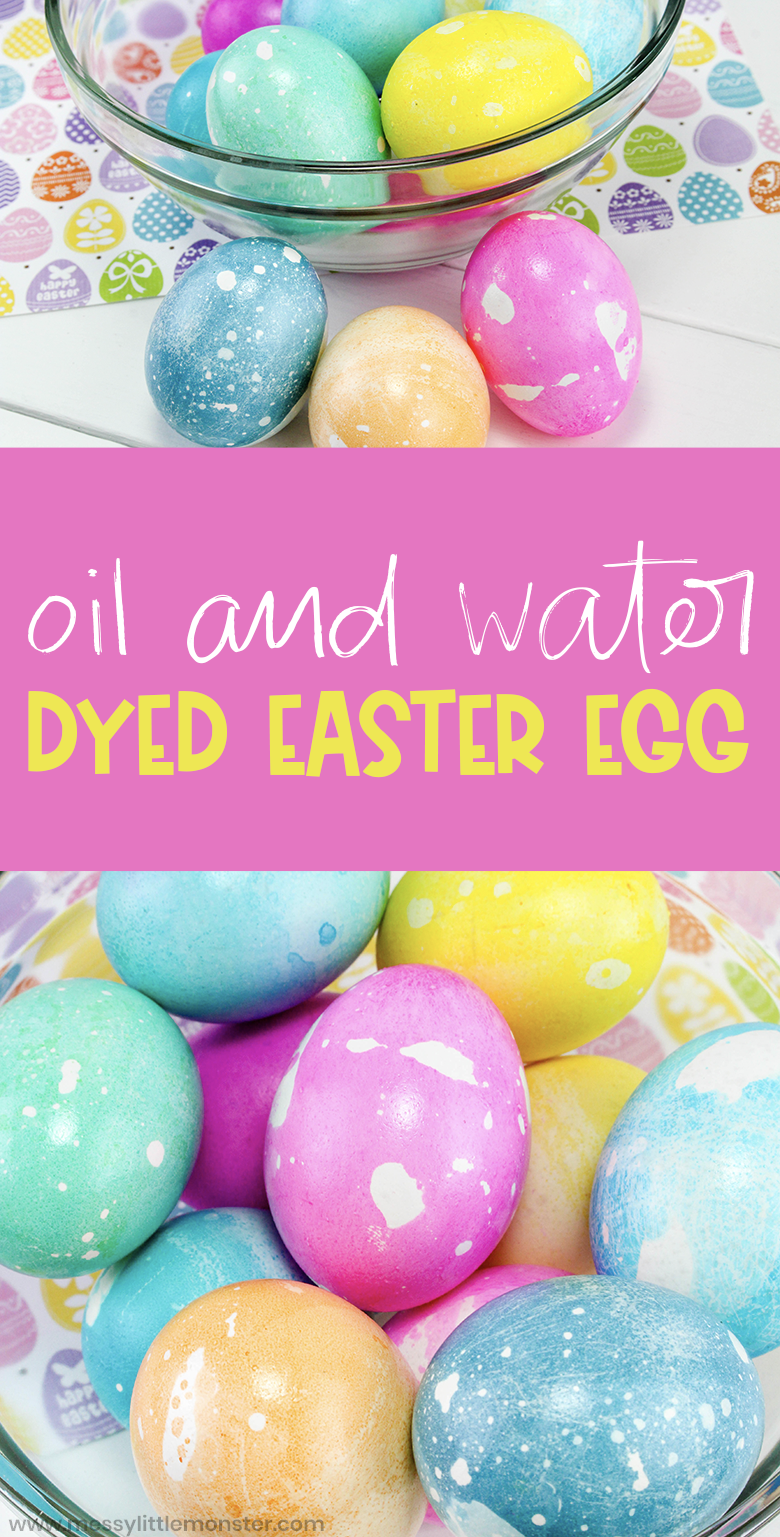 How to dye Easter eggs. Coloring Easter eggs with oil and water. Colorful dyed Easter eggs for kids. Easy egg decorating ideas.