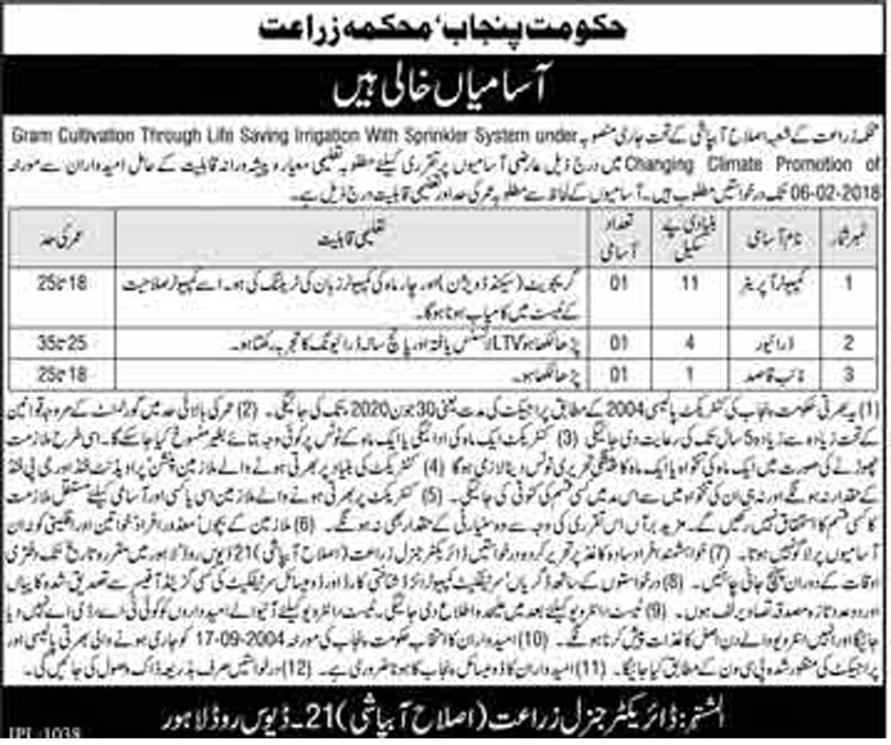 Computer Operator,Naib Qasid,Drivers Jobs in Agriculture Department Govt Of Punjab