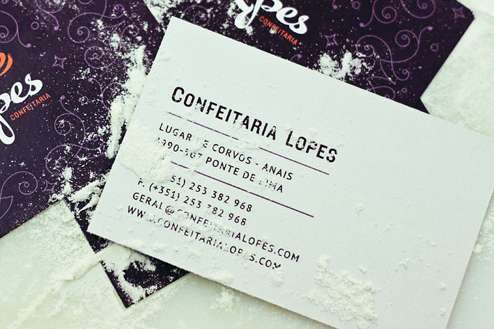Confeitaria Lopes identity by Gen Design Studio business card bakery