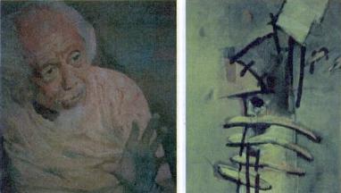 Lukisan Potret diri Affandi dan Lukisan Karya Hanafi