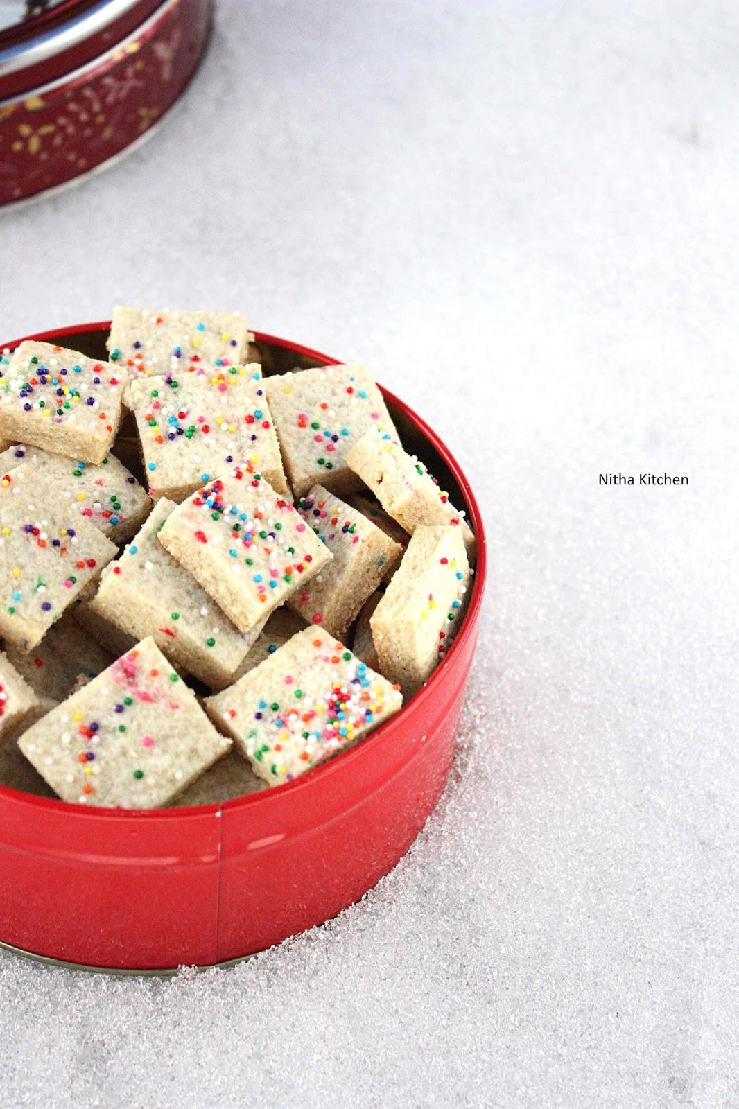 Christmas Shortbread Bites Eggless Funfetti Shortbread Tidbits