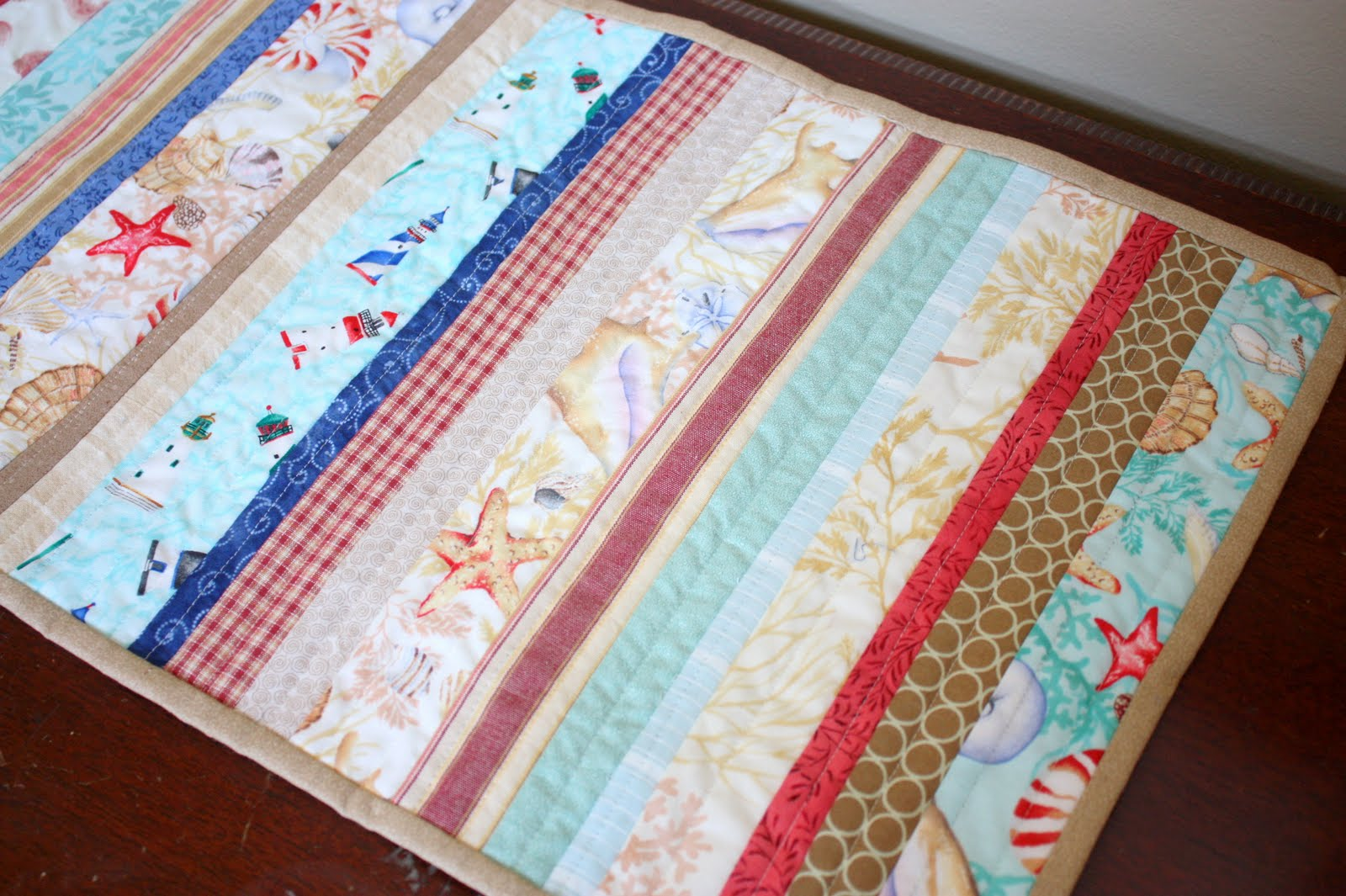 Table Diary Of Runner Beach A Runners Quilter Theme Blog Quilt Summer
