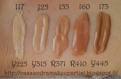 HD Foundation - ULTRA HD foundation 4k - Make Up For Ever - Fondotinta MUFE - Swatch 117 125 155 160 173 - Y225 Y315 R371 R410 Y445 - Review - Recensione - Prezzo - INCI - Ingredienti