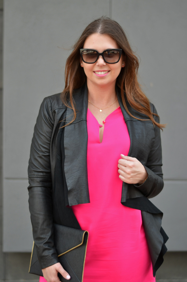 SEN Jensen Leather Jacket paired with hot pink Amanda Uprichard shift dress.