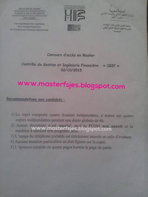 Master Contrôle de Gestion et Ingénierie Financière