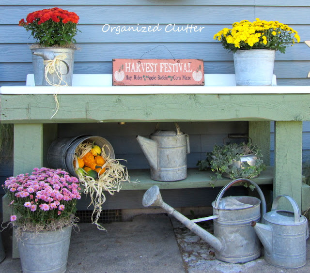 Fall Potting Bench with Mums, Ivy, Gourds and Galvanized
