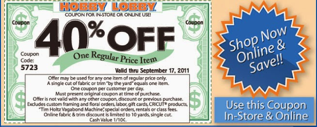 Hobby Lobby regularly offers a coupon (usable in stores and online) worth 40% off any regularly priced item. Plus, its weekly ad (available on its website) also offers discounts and coupons for specific items and in certain categories.