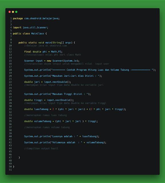 Contoh Code Program Menghitung Luas dan Volume Tabung di Java