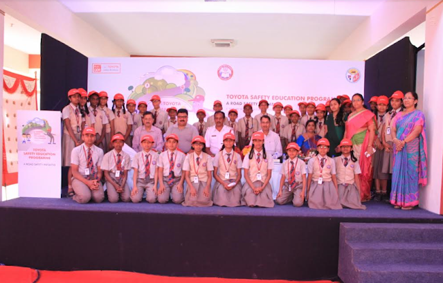 Students from Police Public School with the Chief guests during the inauguration of Toyota Safety Education Program
