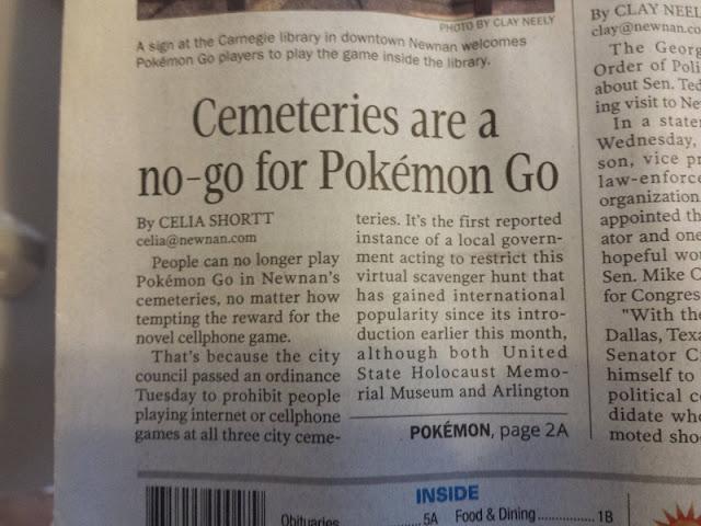 Cemeteries Pokémon GO Newnan Georgia ordinance newspaper Times-Herald