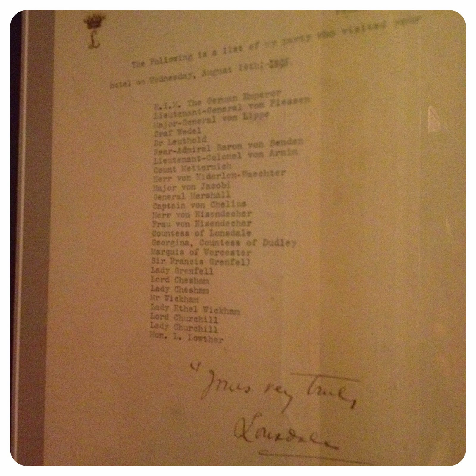 A list of the visitors to the hotel in 1895 including Kaiser Wilhelm of Germany, displayed in the hotel bar.
