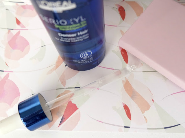 application du serioxyl denser hair de loreal