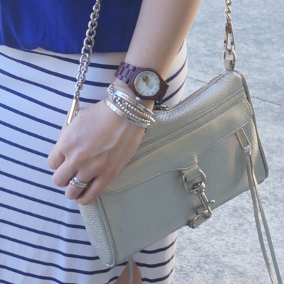 Cora purpleheart and mother of pearl watch Rebecca Minkoff silver mini MAC | Away From The Blue