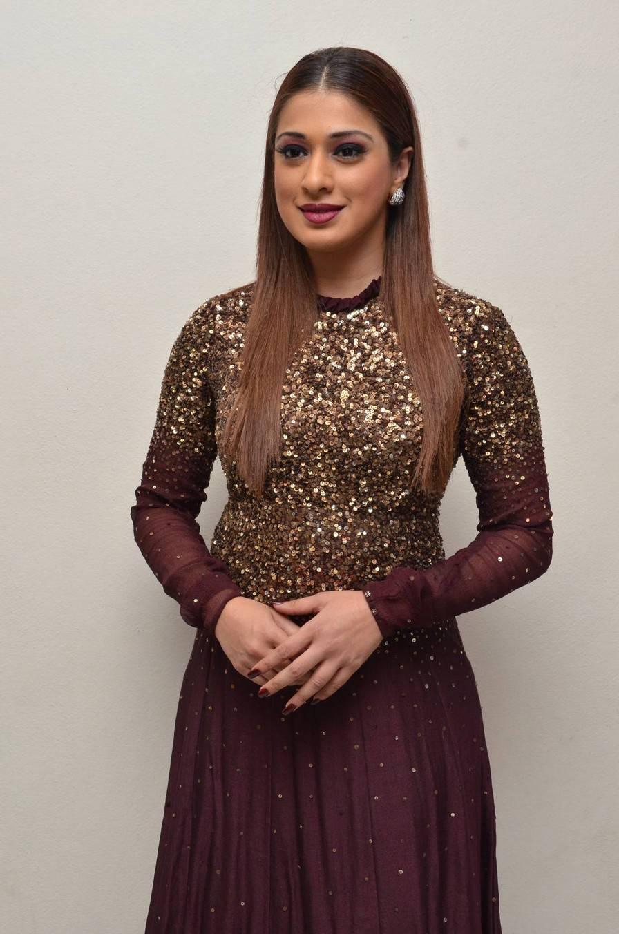Indian Actress Raai Lakshmi Long Hair Hot In Maroon Dress At Audio Launch