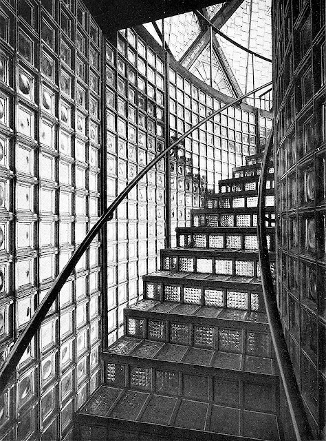 BRUNO TAUT GLASHOUSE 1914 photograph of glass block stairs