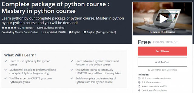[100% Off] Complete package of python course : Mastery in python course| Worth 194,99$