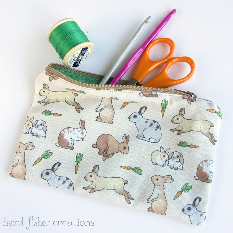 Rabbit zip pouch sewing tutorial hazelfishercreations