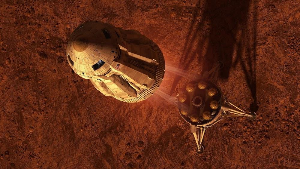 MAV liftoff - concept art for The Martian by Steve Burg