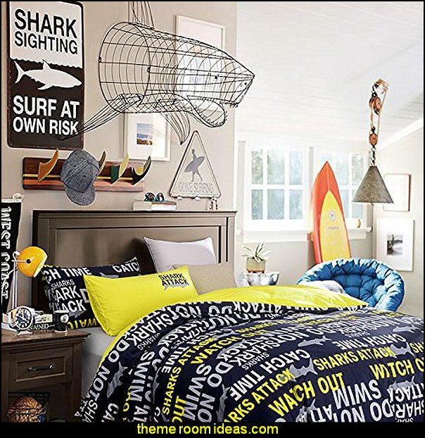 Yellow Shark Attack Duvet Cover Set Shark Bedrooms - shark murals - Shark Decor - shark wall decals - shark theme bedroom decorating ideas -  surfing theme bedrooms - surf shack bedrooms - shark bedding - nautical bedrooms - 3d shark wall decorations