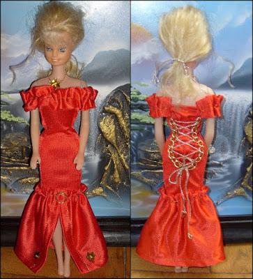 Sukienka, ubranko dla Barbie DIY