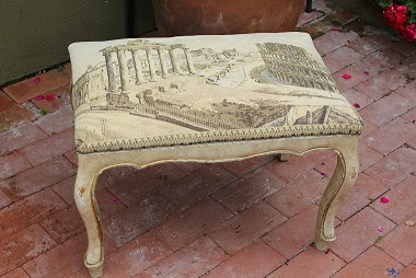 Italian Vintage Tapestry Marries a Vintage French Stool
