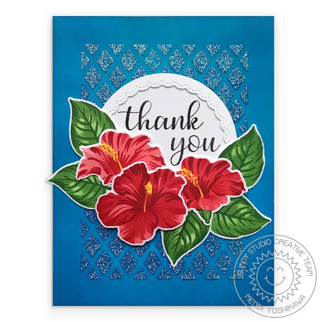 Sunny Studio Stamps: Hawaiian Hibiscus Layered Flower Thank You Card (using Therm-o-web Glitz Gel with Frilly Frames Lattice Dies)