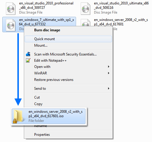 Code In Tech : How to mount / emulate ISO files in windows xp/vista/7