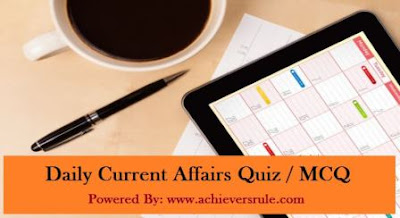 Daily Current Affairs MCQ - 28th August 2017