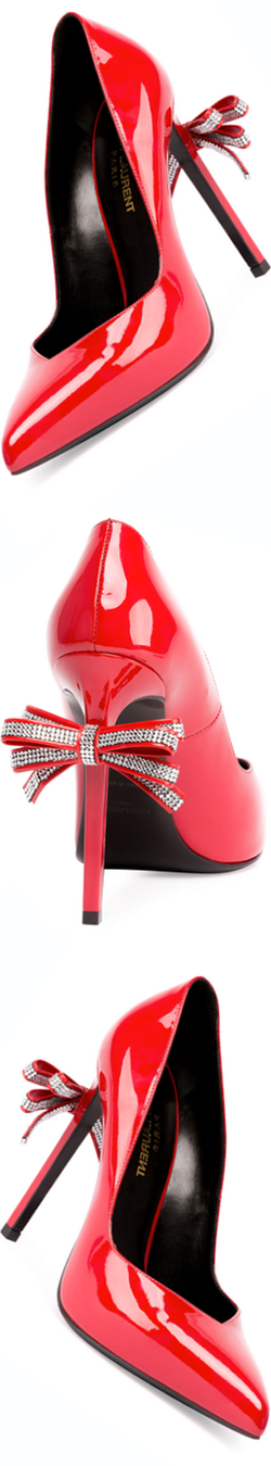 Saint Laurent Paris Patent Bow-Back Pump, Red