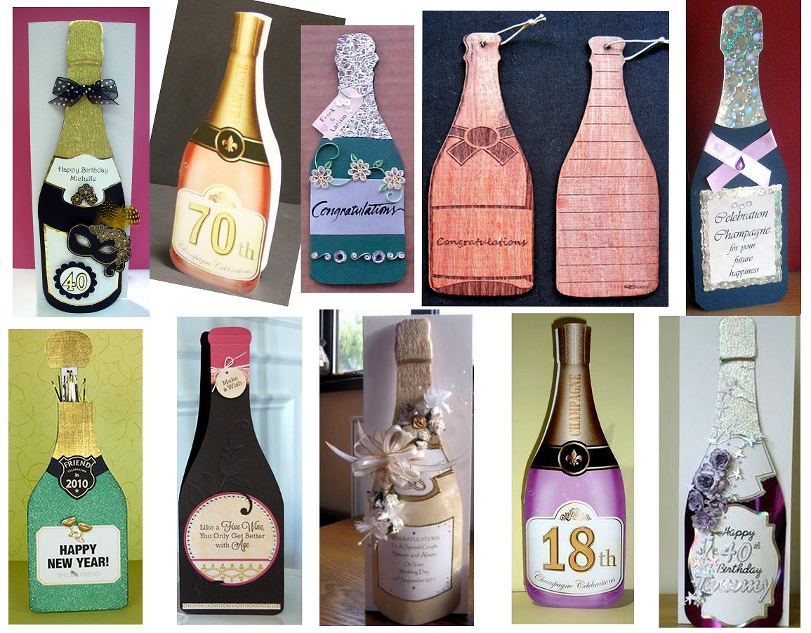 PAP Tarjetas con Forma de Botella de Champagne con Plantilla.   Oh ...